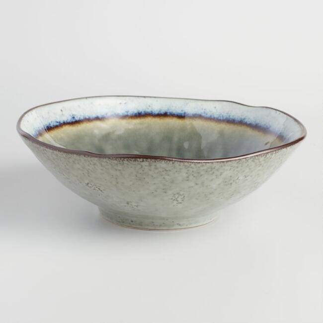 Gray Reactive Glaze Serving Bowl