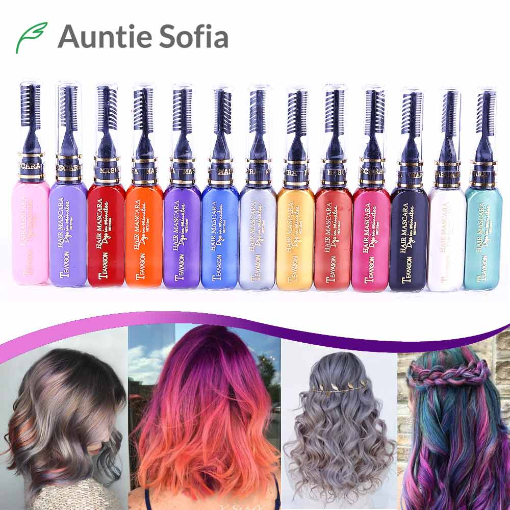 7cac4702577 13 Colors One-off Hair Color Dye Temporary Non-toxic DIY Hair Color Mascara  Washable One-time Hair Dye Crayons - ECART