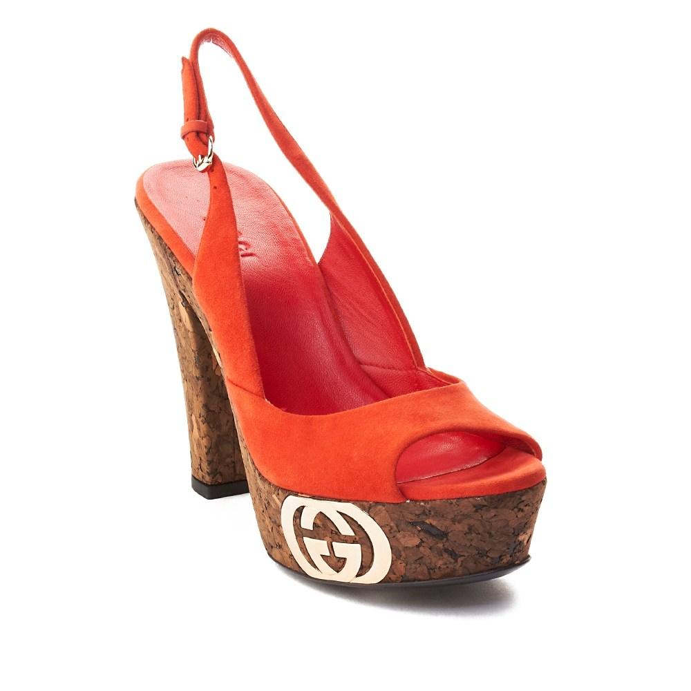 417cb72ca Gucci Women's Suede Cork High Heel Shoes Red | Shoplinkz, BTC ...