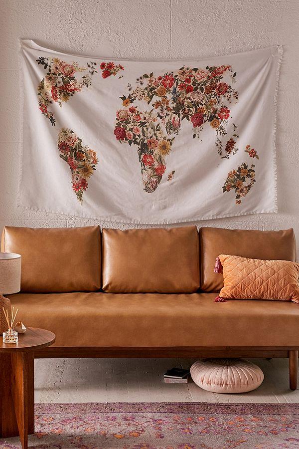 Botanical Floral Map Tapestry