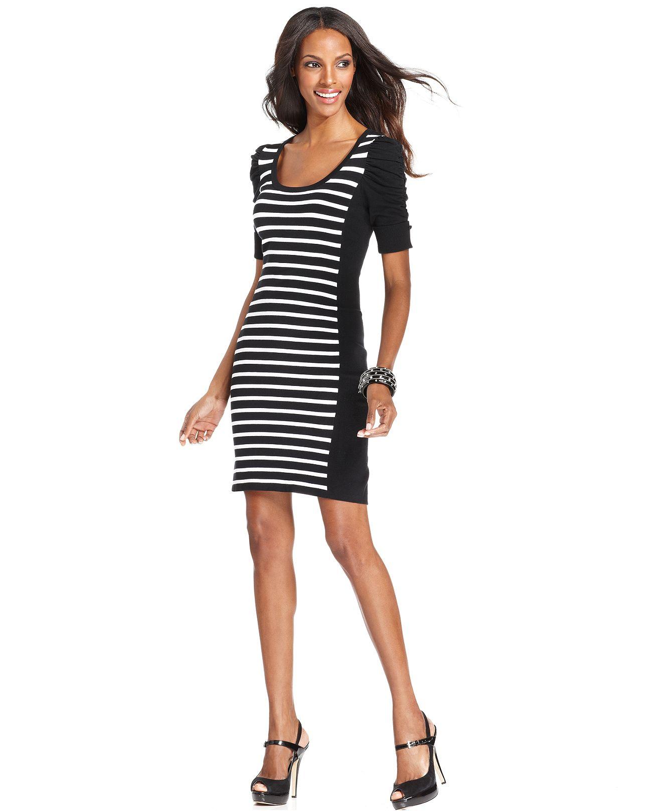 INC International Concepts Dress, Short-Sleeve Striped Sweater Dress ...
