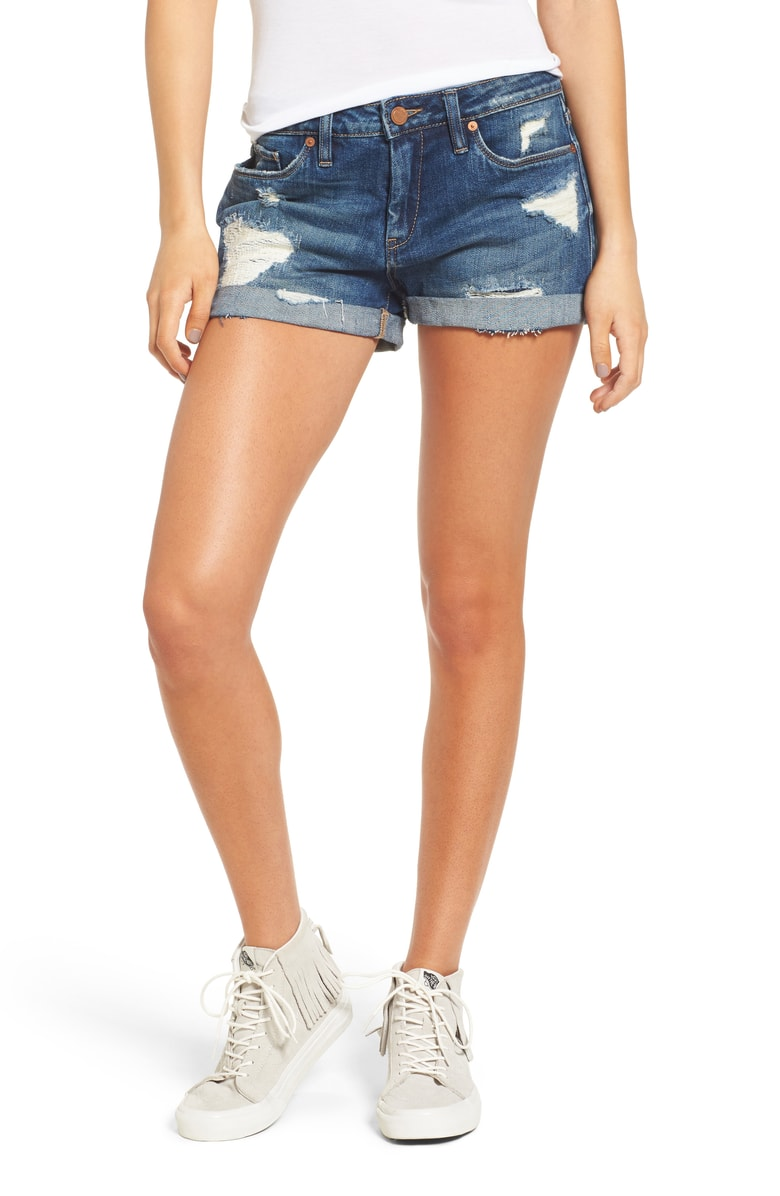 Boyfriend Denim Shorts, Main, color, DRESS DOWN