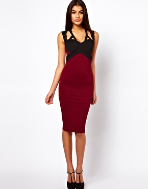 Image 1 ofASOS Pencil Dress with Contrast