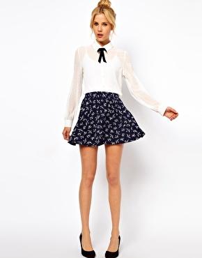 ASOS Skater Skirt in Swallow Print